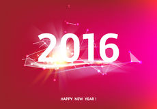 Happy new year card. Over red background with white polygonal lines. Vector illustration Royalty Free Stock Images