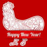 Happy New Year card on paper with cock. Vector happy New Year card on paper with cock Stock Images