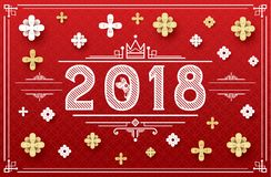 2018 Happy New Year Card with Paper Flower and Dog. Vector Illustration Royalty Free Stock Image