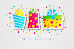 Happy 2019 new year card in paper stylewith presents for your seasonal holidays flyers, greetings and invitations cards. And christmas themed congratulations vector illustration