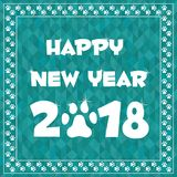 Happy new year 2018 card in paw border frame Stock Photography