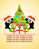 Happy New Year card with penguins and Christmas tree Royalty Free Stock Photo