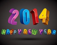 2014 Happy New Year card with phrase made with 3d retro style ge. Ometric letters stock illustration