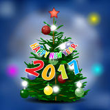 Happy new year 2017 card with pine tree Royalty Free Stock Image