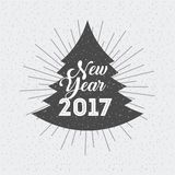 Happy new year card. Happy new year 2017 card in pine tree shape over white background. colorful design. vector illustration royalty free illustration