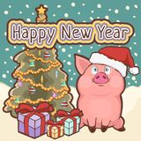 Happy New Year card, poster, banner with a cute funny pig, decorated Christmas tree and gift boxes amid falling snow, vector. Illustration in retro style stock illustration