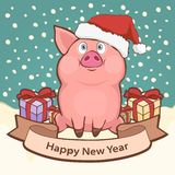 Happy New Year card, poster, banner with a cute funny pig in santa hat and gift boxes amid falling snow, place for congratulations. Vector illustration in royalty free illustration