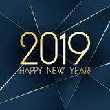 2019 Happy New Year card with premium polygonal gradient triangles and foil texture lines background. Blue 2019 Happy New Year card with premium polygonal stock illustration