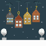Happy New Year Card. Real Estate Gifts. Stock Images