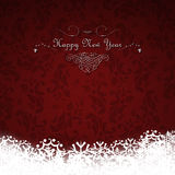 Happy New Year card on red background. Happy New Year card with floral vintage red background royalty free illustration
