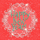 Happy new year card with red background. Illustration royalty free illustration