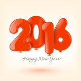 Happy New Year and card with red balloons Royalty Free Stock Image