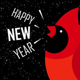Happy New Year card. Red cardinal on black background with snow. Flat design. Vector royalty free illustration