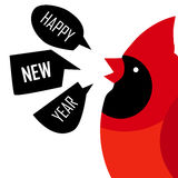 Happy New Year card with Red cardinal. Flat design. Vector vector illustration