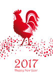 Happy New Year 2017. Card with red cock on white background.  Can be used as a greeting card, flyer, poster, invitation. Vector il. Happy New Year 2017. Card Stock Image