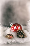 2016  happy new year card. 2016 happy new year card with red decoration Stock Image