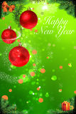 Happy New year card with red shiny balls hanging Stock Image