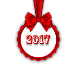Happy New Year 2017 Card with Red Silk Ribbon and Bow Royalty Free Stock Images