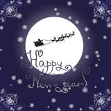 Happy New Year Card with reindeer sledding Royalty Free Stock Photography