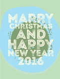 Happy new year card retro vintage. Vintage retro happy new year card 2016, grunge Stock Photos