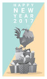 Happy new year 2017 card with rooster , animal new year of 2017 Stock Photography