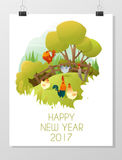 Happy new year 2017 card with rooster , animal new year of 2017. Vector, illustration Royalty Free Stock Image