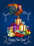 Happy New Year card with rooster. New Year holiday greeting card with rooster standing on christmas gifts heap. Symbol of 2017 New Year Royalty Free Illustration