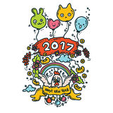 Happy New Year Card. Rooster 2017. Vector Illustration of Happy New Year 2017 Greeting Card. Rooster Year.Doodle Style Stock Photos