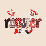 Happy new year card with roosters and hens Stock Images