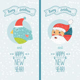 Happy new year card with santa and bird. Happy new year card with santa claus and christmas cute bird. Vector illustration Merry christmas and Happy new year royalty free illustration