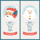 Happy new year card. With santa claus and christmas sheep. Vector illustration Happy new year and happy holidays royalty free illustration