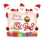 Happy new year 2018 card. Santa claus greeting card.  royalty free illustration