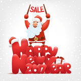 Happy new year card with santa claus holding sale banner. Vector illustration Stock Photography