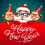 Happy New Year card with Santa Claus and monkeys. Greeting card, Happy New Year card with Santa Claus and monkeys, vector illustration Royalty Free Stock Photography