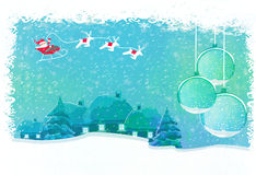Happy New year card with Santa and winter landscap Stock Images
