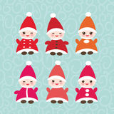 Happy New Year card, set Funny gnomes in red hats Stock Image