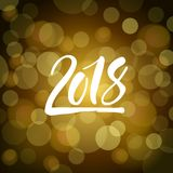 Shiny dark golden new year card with hand drawn lettering 2018 Royalty Free Stock Images