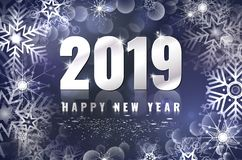 Happy New Year 2019 card with shiny snowflakes stock illustration
