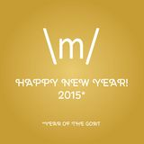 Happy new year card with sign of the horns Stock Photography