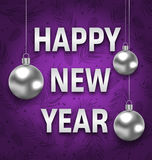 Happy New Year Card with Silver Balls on Purple Background Stock Image