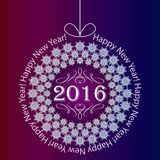 Happy new 2016 year card. With snowflake ball Royalty Free Stock Image