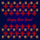 Happy new year card, snowflakes on blue background Royalty Free Stock Images