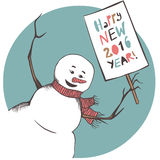 Happy new 2016 year card. Snowman with banner Happy new 2016 year. Congratulation card vector illustration