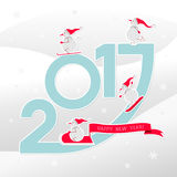 Happy new year card with snowmen. Cartoon snowmen on a light background. Winter sports vector Royalty Free Stock Image