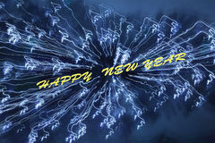 Happy new year card. Sparkling blue happy new year background stock photography