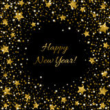 Happy New Year Card Ssparkle sequin tinsel bling for invitations Stock Photography