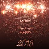 Happy New Year card, stage, light,illustration Royalty Free Stock Photography