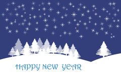Happy new year card with stars in dark blue Royalty Free Stock Photos