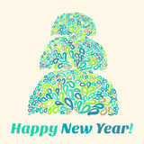 Happy New Year Card with stylize mosaic Christmas tree.  Vector Illustration