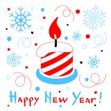 Happy New Year card with a stylized christmas candle on white ba. Ckground. Vector Illustration vector illustration